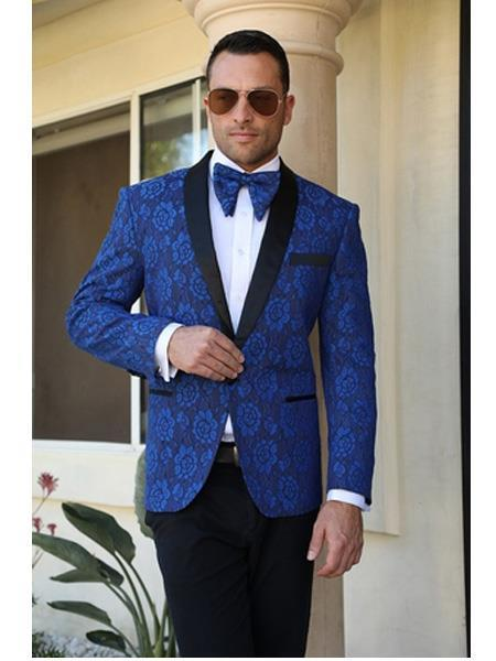 Cheap Mens Printed Flower Jacket Prom modern Tux Royal Blue