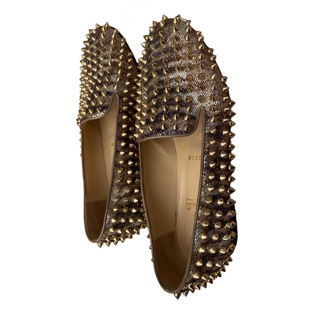 Christian Louboutin \N Gold Glitter Flats for Women 38.5 EU