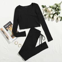 Plus Rib-knit Crop Tee & Drawstring Waist Legging Set