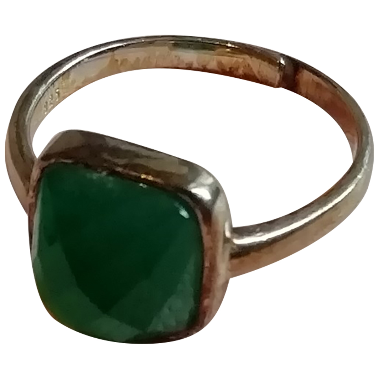 Non Signé / Unsigned \N Green Silver ring for Women \N