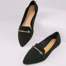 Metal Detail Pointed Toe Slip On Loafers