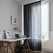 1 Stueck Vorhang mit Karo Muster