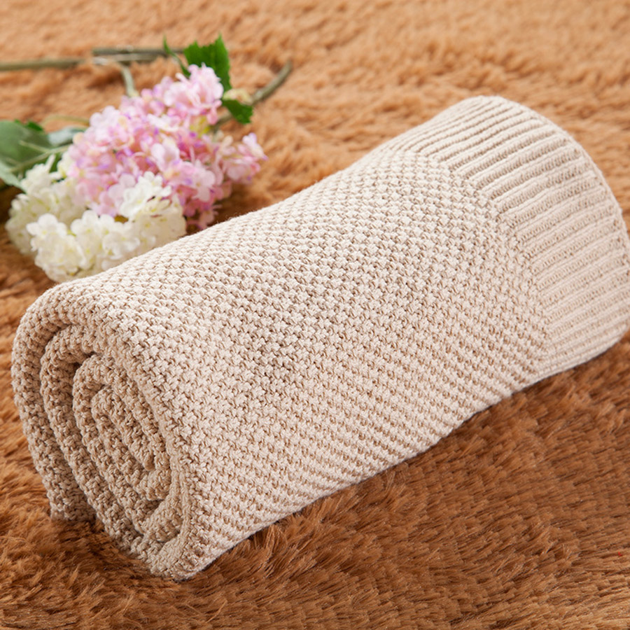 Baby Cotton Pure Color Soft Knitting Blanket
