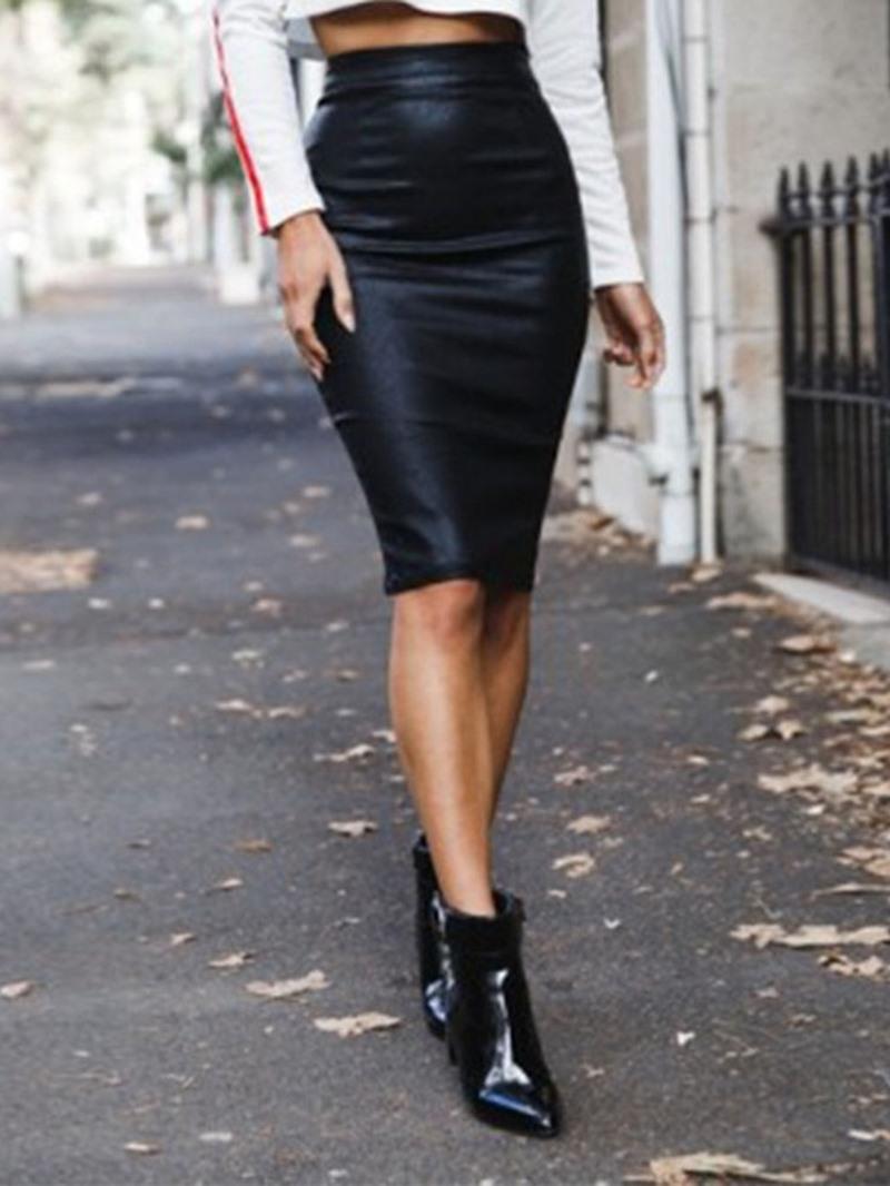 Ericdress PU Knee-Length Zipper Plain Fashion Womne's Column Skirt
