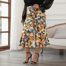 Plus Allover Floral Print Drawstring Ruched Split Thigh Mermaid Skirt