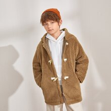 Boys Drop Shoulder Pocket Side Teddy Duffle Coat
