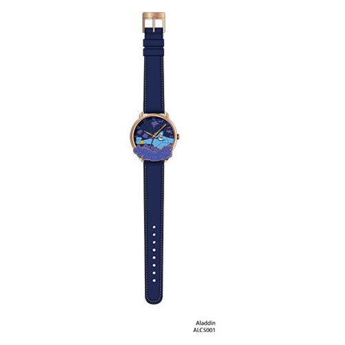 Aladdin Genie Cloud Antique Gold Finish Dial with Stitched Strap Watch