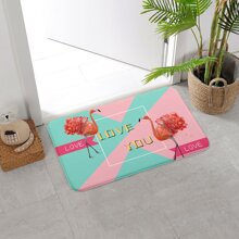 Flamingo & Letter Graphic Floor Mat