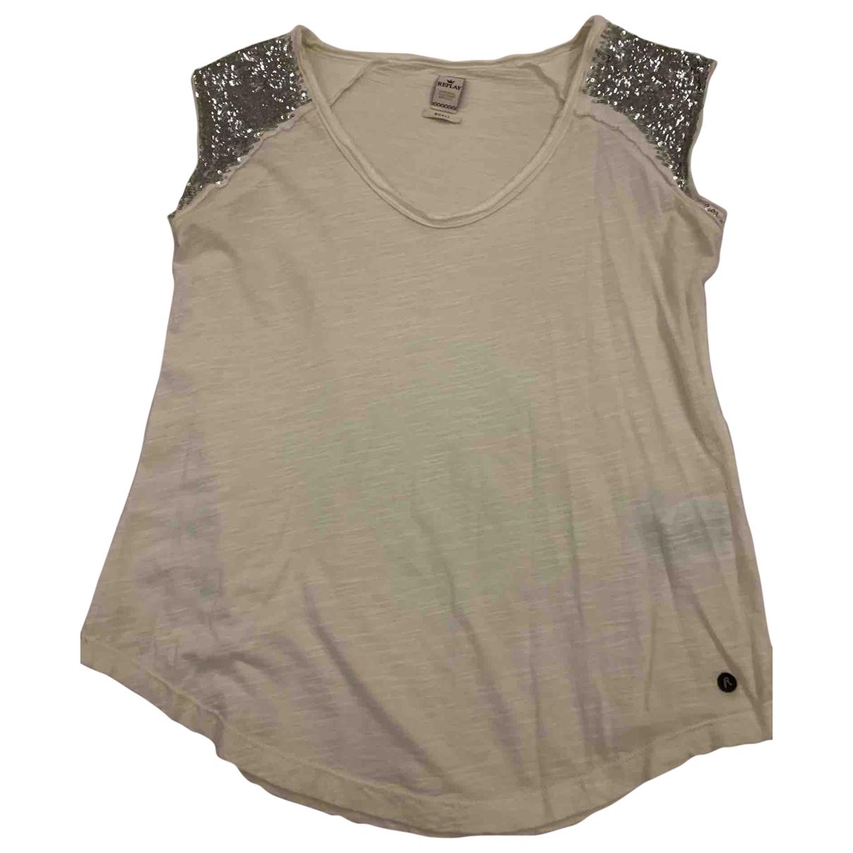 Replay - Top   pour femme en coton - blanc