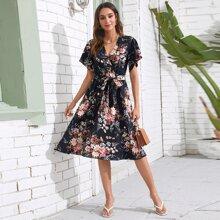 Surplice Neck Flutter Sleeve Self Belted Floral Dress