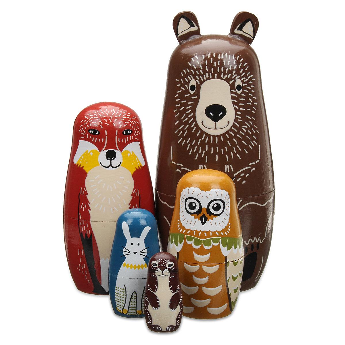 5 Nesting Dolls Wooden Animal Russian Doll Toy Decor Kid Gift