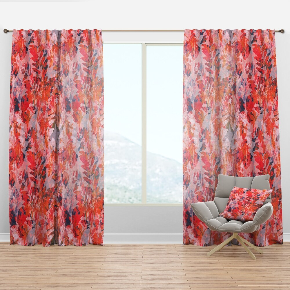 Designart Superimposed composition of herb, flowers and leaves Floral Curtain Panel (50 in. wide x 90 in. high - 1 Panel)