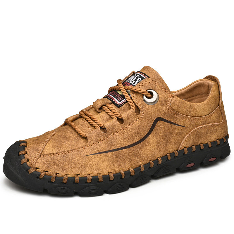 Men Microfiber Leather Toe Protective Hand Stitching Lace Up Casual Shoes
