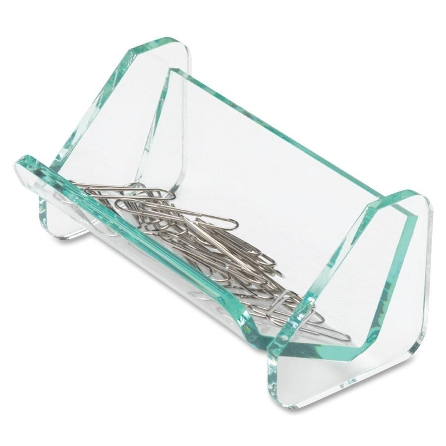 Lorell Acrylic Transparent Green Edge Paper Clip Holder (LLR80660)