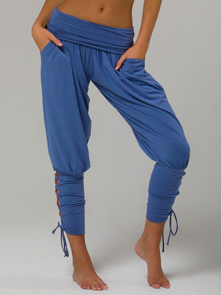 Milanoo Pajama Pants High Waisted Lace Up Tapered Fit Trousers For Women