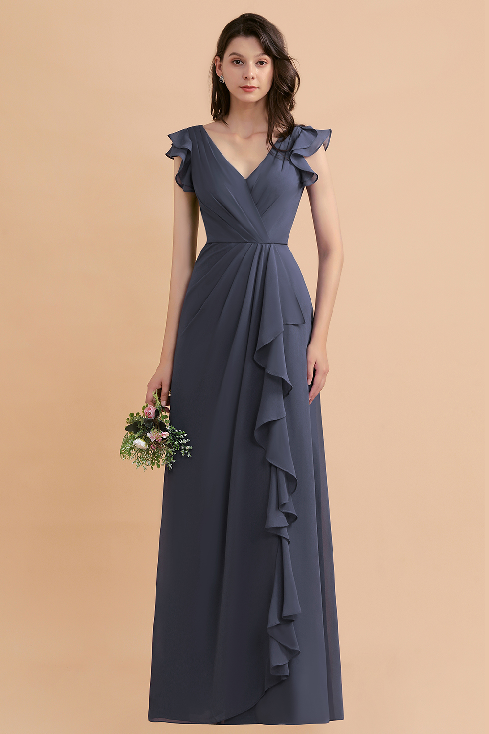 BMbridal Affordable V-Neck Chiffon Ruffles Bridesmaid Dress with Pockets On Sale