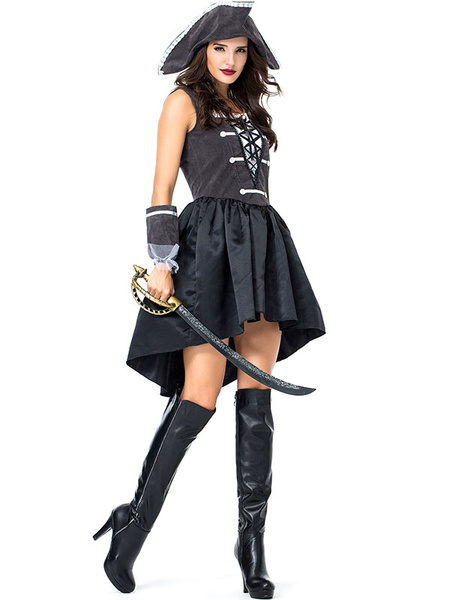 Milanoo Pirate Costume Halloween Black Pirate Lace Up Dress Hat Carnival Costumes