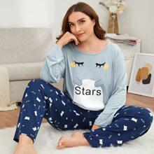 Pajama Set mit Karikatur und Buchstaben Grafik