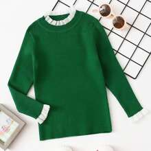 Toddler Girls Frill Trim Ribbed Knit Sweater
