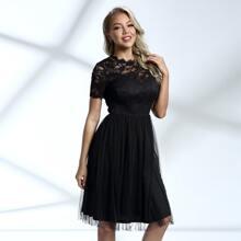 Kleid mit Reissverschluss hinten, Spitze und Netzstoff