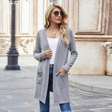 Dual Pockets Open Front Cardigan