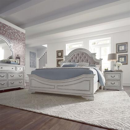 Liberty Furniture 244-BR-KUBDMN 4 Piece Bedroom Set with King Size Upholstered Bed  Dresser and Mirror  Nightstand in Antique White