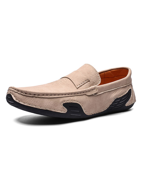 Milanoo Mens Loafers Shoes Slip-On Round Toe Cowhide Shoes