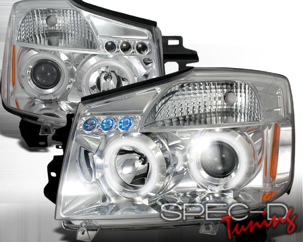 SpecD Chrome Halo LED Projector Headlights Nissan Armada 05-07
