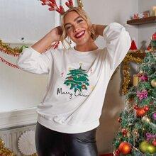 Capucha con estampado de Navidad y slogan