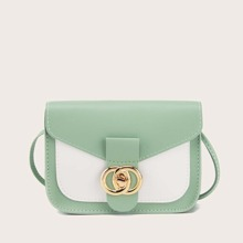 Twist Lock Color Block Crossbody Bag