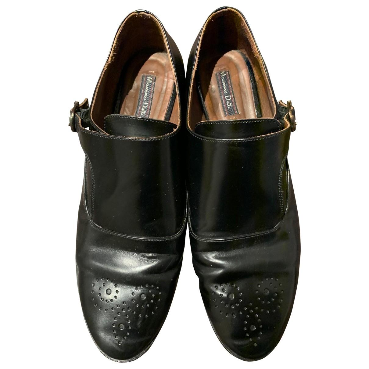 Massimo Dutti - Derbies   pour femme en cuir - noir