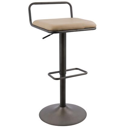 BS-BETA AN+CAM2 Beta Industrial Barstool in Antique and Camel PU Leather - Set of