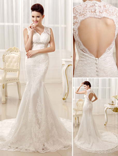 Milanoo Mermaid Beaded Halter Lace Elegant Bridal Wedding Gown