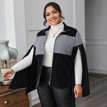 Mantel mit Schlitz auf Ärmeln, Reissverschluss und Hahnentritt Muster