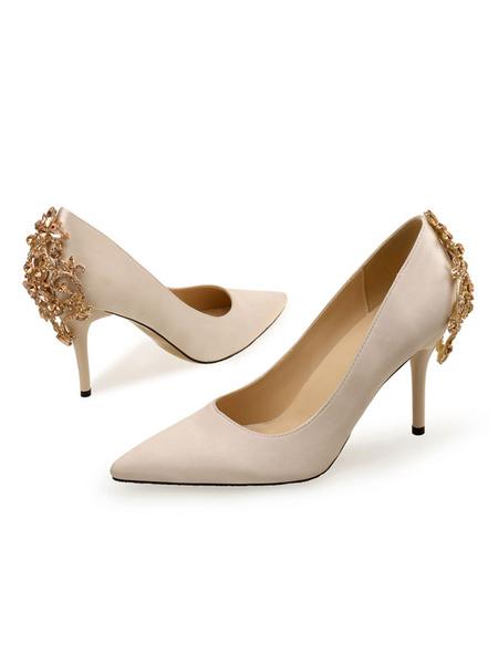 Milanoo Woman\'s High Heels Pink Slip-On Pointed Toe Stiletto Heel Rhinestones Low-Tops