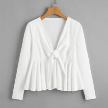 Tie Front Ruffle Hem T-Shirt
