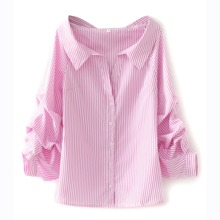 Striped Ruched Sleeve Blouse