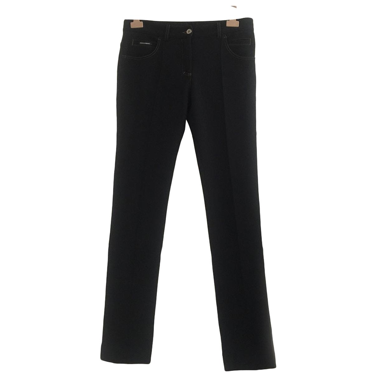 Dolce & Gabbana \N Black Wool Trousers for Women 44 IT
