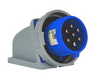 RS PRO IP67 Red Wall Mount 6P+E Right Angle Industrial Power Plug, Rated At 32.0A, 415.0 V