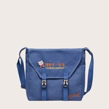 Korean Letter Embroidered Buckle Front Crossbody Bag