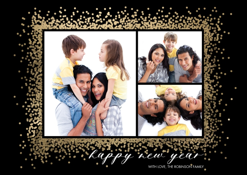New Year's Photo Cards 5x7 Cards, Premium Cardstock 120lb with Rounded Corners, Card & Stationery -New Year Sparkling Border by Tumbalina