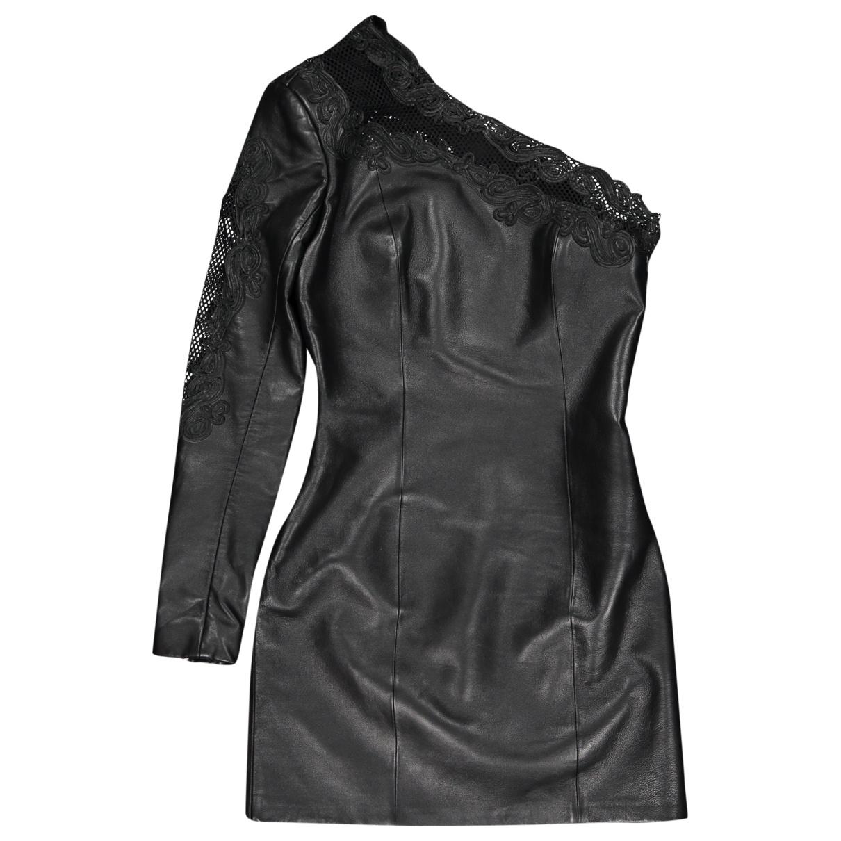 Balmain \N Black Leather dress for Women 36 FR