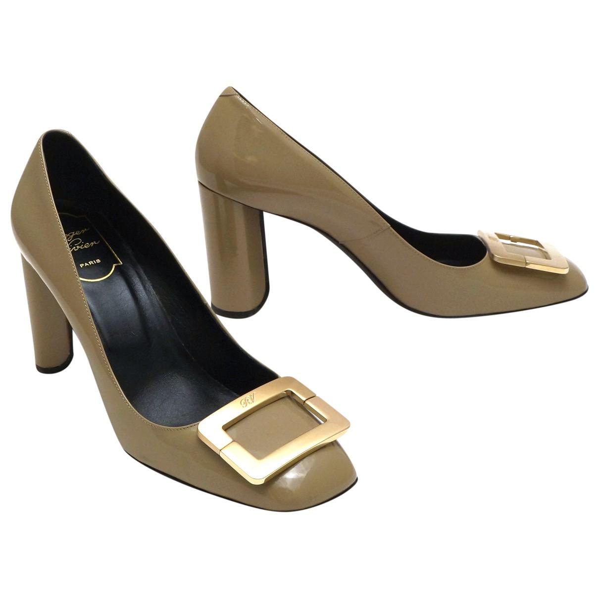 Roger Vivier Belle de Nuit Beige Patent leather Heels for Women 38 EU
