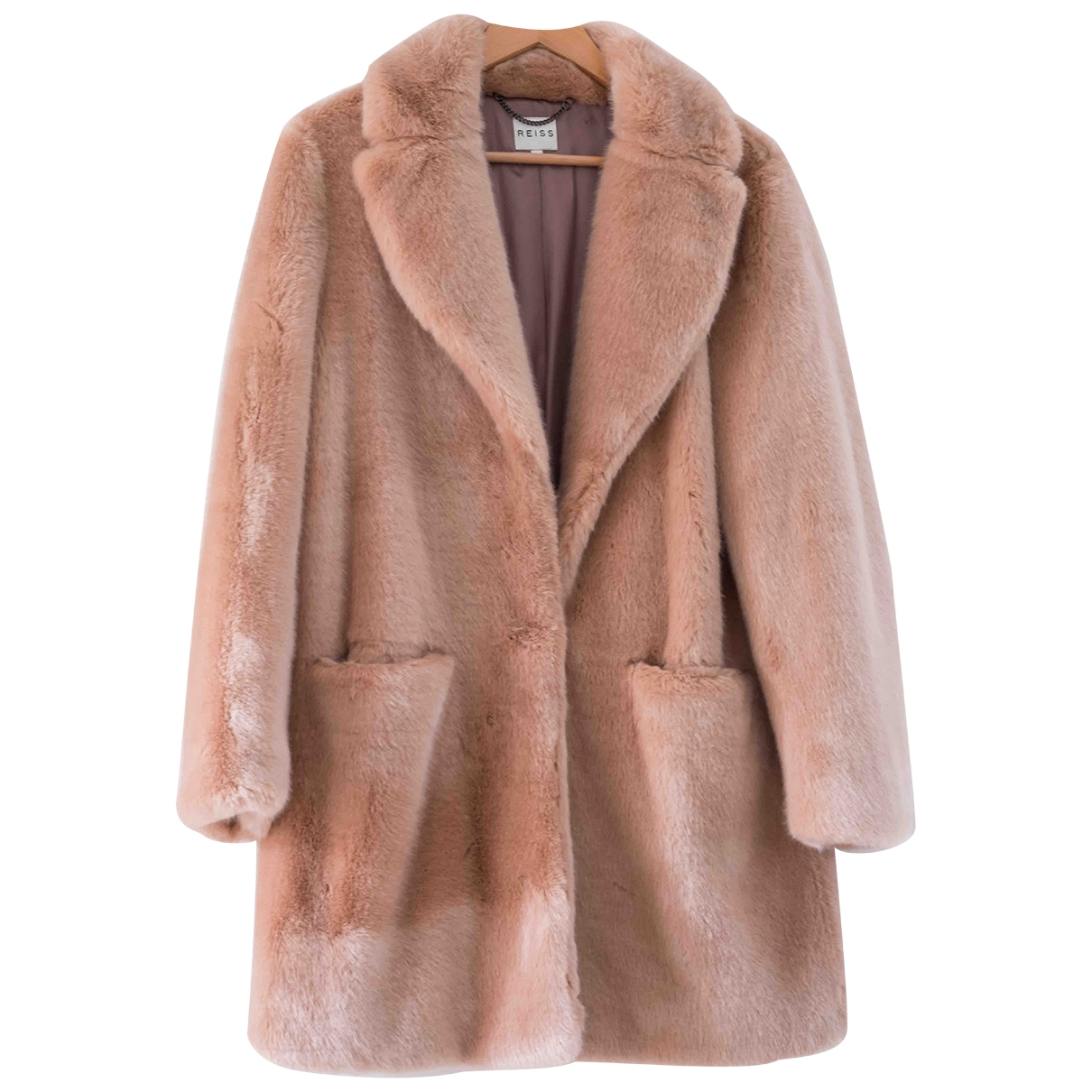 Reiss - Manteau   pour femme en fourrure synthetique - rose