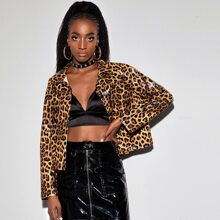 Leopard Print PU Leather Jacket