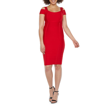 Bold Elements Short Sleeve Bodycon Dress, Large , Red