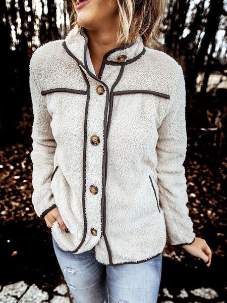 Milanoo Mujer de pie chaqueta manga larga de cuello de piel sintetica Botones Botones mujeres de la tecnica