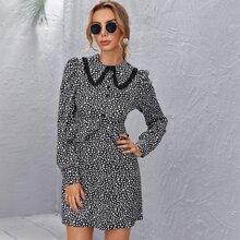 Button Front Ruffle Hem Star Print Dress