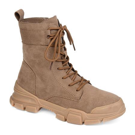 Journee Collection Womens Gretta Combat Boots Block Heel, 8 1/2 Medium, Beige