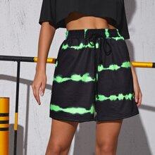 Shorts mit Knoten auf Taille und Batik
